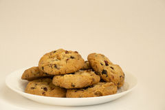 Shortbread cookies with raisins on a white plate Royalty Free Stock Photos