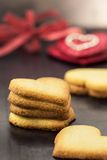 Shortbread cookies in shape of heart as symbol of love Stock Images