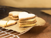 Shortbread cookies in shape of heart on a cooling rack Stock Photography