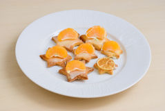 Shortbread cookies with tangerines Stock Photos