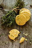 Shortbread cookies with thyme and parmesan Royalty Free Stock Photography