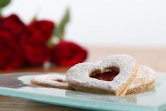 Shortbread hearts and roses Royalty Free Stock Photo