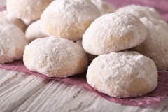 Shortbread with powdered sugar close-up on a table. horizontal Royalty Free Stock Images