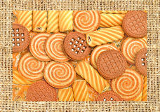 Shortbread, puffs and cookies covered with chocolate and grind n Stock Photos