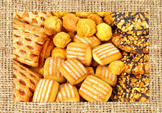Shortbread, puffs and cookies covered with chocolate and grind n Royalty Free Stock Images