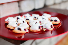 French cookies sable with meringue & currants Royalty Free Stock Image