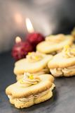Shortbread sandwich cookies with cream filling Royalty Free Stock Images