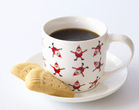 Shortbread, Santa Cup and Saucer. Royalty Free Stock Images