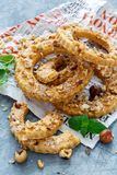 Shortbread in the shape of a ring with hazelnut. Stock Photography
