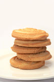 Shortbread stacked. 5 piece of sweet shortbread stacked on a cream china plate with a neutral background Royalty Free Stock Photography
