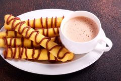 Shortbread sticks with chocolate drizzle. And cup of cappuccino Stock Images