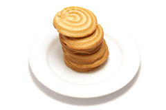 Shortbread Tower 2. 6 shortbread biscuits stacked on a white plate Stock Photography