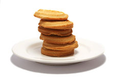 Shortbread Tower 3. 6 shortbread biscuits stacked on a white plate royalty free stock photo