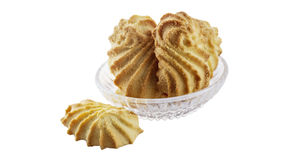 Shortbreads and glass saucer Royalty Free Stock Photo