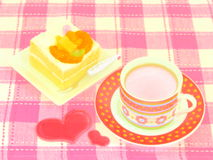 Shortcake della frutta e del caffè Fotografia Stock