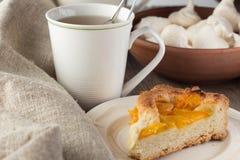Shortcrust brzoskwini kulebiak i filiżanka herbata Fotografia Stock