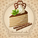 Shortcrust cake label. Shortcrust cake dessert label and food cooking icons on background vector illustration Royalty Free Stock Photos
