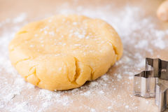 Shortcrust pastry dough, unrolled and unbaked on a floured surfa. Ce, closeup, selective focus Stock Image