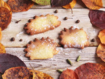 Shortcrust pastry. And yellow leaves as an autumn background Stock Photos
