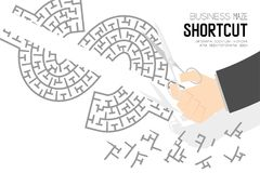 Shortcut Business online Maze or labyrinth Currency USD United States Dollars sign shape with businessman and scissors, design i. Llustration isolated on white Royalty Free Stock Photo