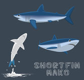 Shortfin Mako Cartoon Vector Illustration Royaltyfri Fotografi