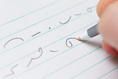 Shorthand. Writing marks on paper Royalty Free Stock Images