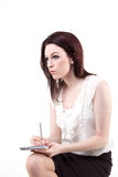 Shorthand. A young woman pondering the meaning of life Royalty Free Stock Photos