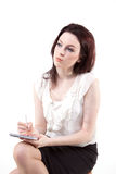 Shorthand. Women taking notes for the boss Royalty Free Stock Images