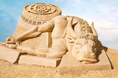 Shortlived sculpture from sand. Story of Theseus and the Minotau Royalty Free Stock Photos