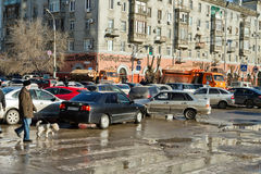 Shortness of traffic on the street Soviet from the overlap of th Royalty Free Stock Photography