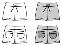 Shorts. White and grey shorts; front and rear view. Vector illustration against white background. The additional format is fully editable and layered and can be Royalty Free Stock Image