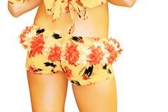 Shorts. Girl in shorts isolated on white background Stock Photos