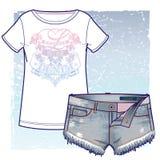 Shorts courts et T-shirt de denim avec le vintage semblant la copie éclectique illustration stock