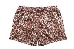Shorts del pugile del raso stampati leopardo Immagini Stock
