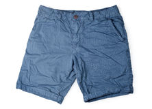Shorts masculins bleus d'isolement sur le blanc Photo libre de droits