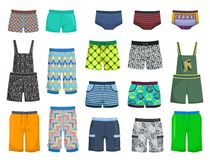 Shorts and panties. For little boys for a walk or beach isolated on white background Stock Photos