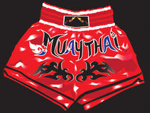 Shorts red thaiboxing  Royalty Free Stock Photos