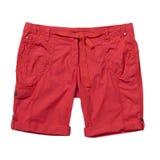 Shorts rossi isolati su bianco Fotografia Stock