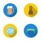 Shorts with suspenders, a glass of beer, a sign, an emblem. Oktoberfestset collection icons in flat style vector symbol Stock Image