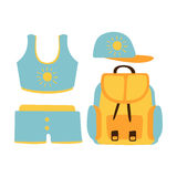 Shorts, top, cap, backpack, women beach accessories in light blue colors. Beach vacation. Colorful cartoon Illustration. Isolated on a white background Royalty Free Stock Photo