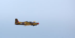 The Shorts Tucano. A Shorts Tucano doing a flyby as it displayed acrobatic maneuvers at the Duxford air show, Sept 2013. Picture is good for enthusiasts and Stock Image
