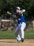Shortstop. Baseball action with Mt. Shasta vs, Central Valley in the City of Shasta Lake, California Stock Photos