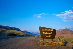 Shoshone National Forest Sign. Welcome sign greets visitors to Wyoming's Shoshone National Forest stock image