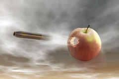 Shot. Digital visualization: bullet shots through an apple Royalty Free Stock Photo