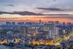 Amazing sunset in Hanoi May - 2018. A shot from above of apartment building,Hoang Mai district,Hanoi city 2018 Royalty Free Stock Photos