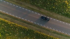 Aerial shot from above driving black car in a field along a rural road in summer at sunset. Aerial shot from above driving black car in a field along a rural stock video footage