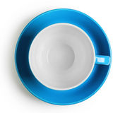 Shot from above blue cup with saucer Royalty Free Stock Image