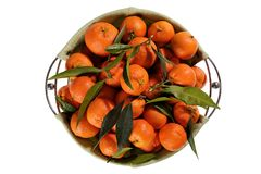 Fresh tangerines with leaves on white background Stock Photos