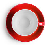 Shot from above red cup with saucer Royalty Free Stock Photos