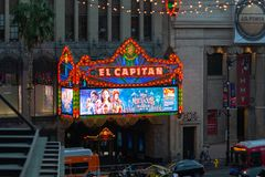 LA, USA - 31ST OCTOBER 2018: The famous El Capitan on Hollywood Boulevard lit up on an evening for tourists royalty free stock images